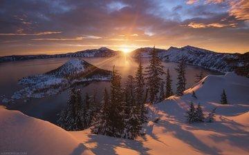 небо, деревья, вода, солнце, снег, природа, зима