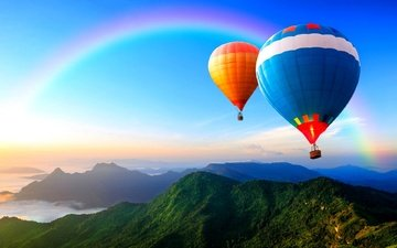 the sky, mountains, rainbow, balloon