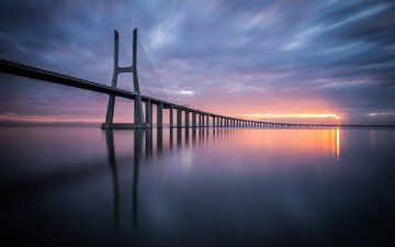 небо, мост, португалия, лиссабон, вантовый мост, vasco da gama bridge, мост васко да гама