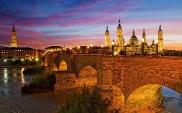 the sky, night, lights, the city, spain, zaragoza, basílica de nuestra señora del pilar, stone bridge