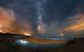 небо, ночь, природа, звезды, пляж, океан, млечный путь