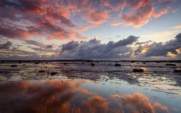 небо, облака, природа, отражение, море, пляж, берег моря, заря