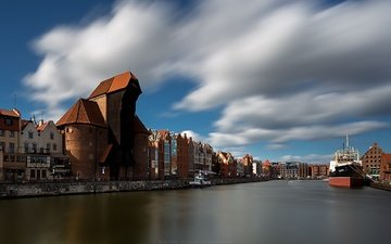 the sky, clouds, river, home, poland, gdansk, steamers