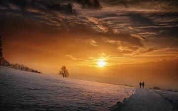 небо, дорога, облака, солнце, снег, природа, закат, зима, люди