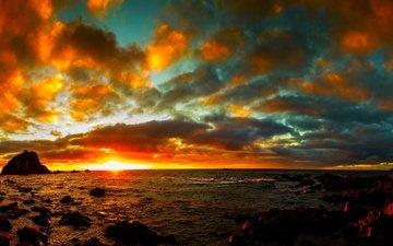 небо, облака, природа, берег, закат, море
