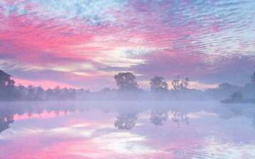 the sky, lake, river, sunrise, reflection, morning, fog, autumn, haze, netherlands