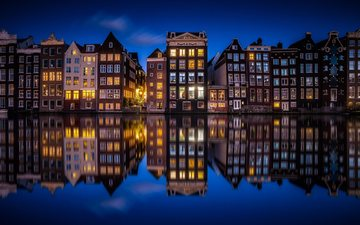 night, lights, the city, channel, home, netherlands, amsterdam, holland