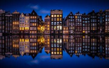ночь, огни, город, канал, дома, нидерланды, амстердам, голландия