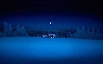 the sky, night, trees, snow, nature, forest, winter, house, a month