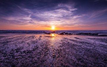 облака, берег, закат, англия, атлантический океан, корнуолл