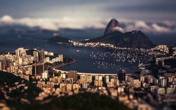 облака, город, залив, дома, здания, бразилия, порт, рио-де-жанейро