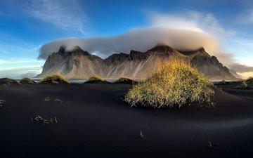 небо, облака, горы, исландия, чёрный песок, вулканический песок