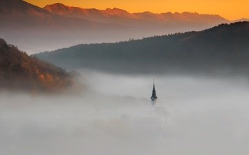 clouds, mountains, nature, fog, church, slovenia