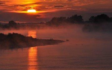 небо, облака, деревья, река, солнце, утро, туман