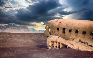 clouds, the plane, desert, transport, damaged, abandoned