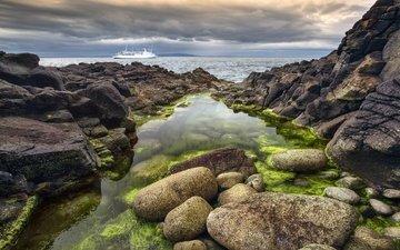 the sky, clouds, rocks, stones, sea, horizon, ship