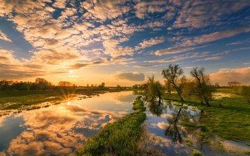 облака, вода, река, восход, солнце