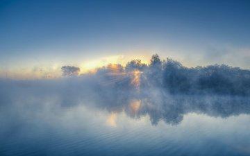 небо, облака, деревья, вода, закат, пейзаж, туман