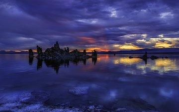 небо, облака, вечер, озеро, природа, камни, закат, йосемити, озеро моно