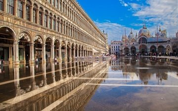 reflection, cathedral, venice, italy, palace, doges palace, st. marks basilica