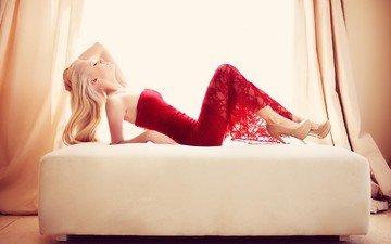 dress, pose, blonde, bed, red dress