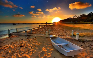 the sky, clouds, water, the sun, sunset, sea, sand, beach, boat, bay, sunlight