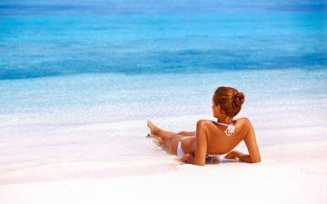 девушка, пляж, лето, модель, отдых, бикини