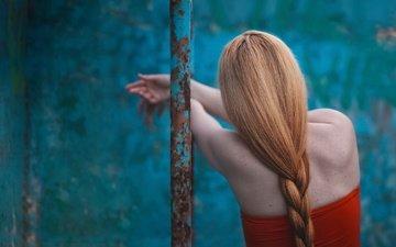 плечи, волосы, коса, рыжеволосая