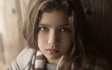 portrait, look, girl, hair, face