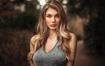 девушка, портрет, взгляд, модель, лицо, длинные волосы, паулина, мартин кюн