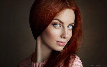 девушка, портрет, взгляд, модель, губы, лицо, рыжеволосая, глаза голубые, шон арчер