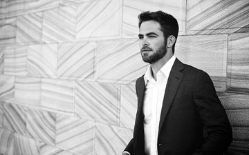 portrait, wall, black and white, actor, shirt, jacket, chris pine