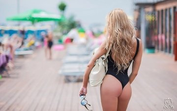 природа, блондинка, попа, женщина, задница, длинные волосы, боке, женщин, вид сзади, женщины на открытом воздухе, загоревшая