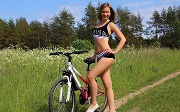 природа, девушка, улыбка, грудь, ножки, волосы, фигура, велосипед