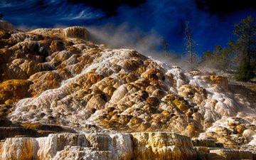вода, природа, камни, берег, пейзаж, море, скала, йеллоустонский национальный парк, йеллоустоун, вайоминг, рельеф, национальный парк йеллоустоун, источники