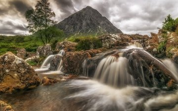 river, tree, stones, landscape, mountain, stream, scotland