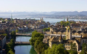 river, bridge, the city, switzerland, zurich