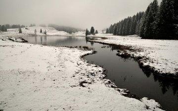 небо, река, снег, природа, лес, зима, деревья