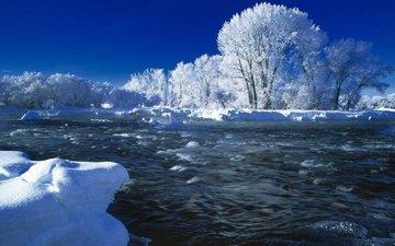 небо, деревья, река, снег, природа, зима, иней, течение