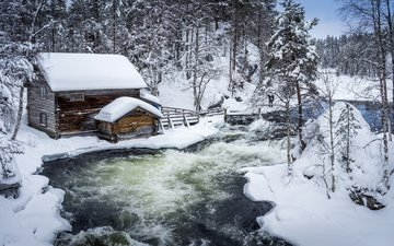 trees, river, snow, winter, the snow, hut, finland