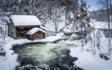 деревья, река, снег, зима, сугробы, хижина, финляндия