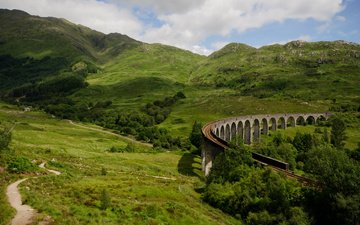 rails, nature, bridge, scotland, railway