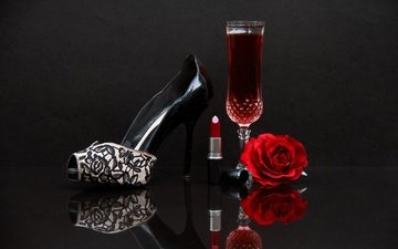 rose, glass, wine, shoes, lipstick