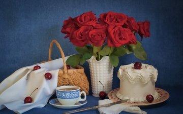 розы, вишня, торт
