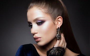 рука, девушка, взгляд, модель, макияж, прическа, украшение, ресницы, сережки