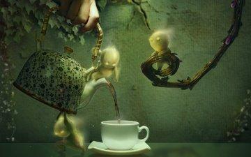 рука, листья, ветки, графика, человечки, чашка, чаепитие, чайник, 3д, плющ
