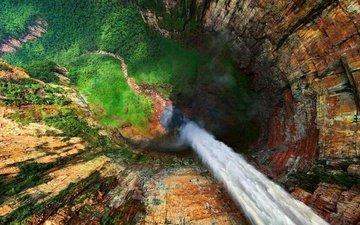 природа, лес, пейзаж, скала, водопад, вид сверху, каньон, венесуэла, водопад анхель, гора рорайма