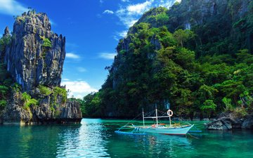 rocks, nature, sea, boat, philippines, trees