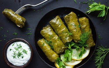greens, lemon, sour cream, cabbage rolls, dolma