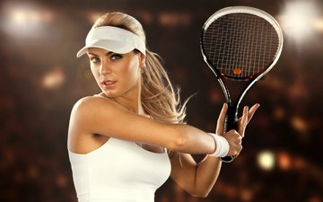 girl, look, hair, face, sport, tennis, racket, tennis player